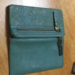 FOSSIL, LEATHER teal blue wallet